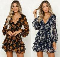 Женские платья с длинным рукавом многоуровневые моды V-образным вырезом цветок печатные платья весна и осень женская одежда Французская элегантность сексуальное MIDI Dresse S-3XL