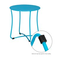 Folding Tray Metal Side Living Room Sofa Small Round End Anti-Rust and Waterproof Outdoor Or Indoor Snack Accent Blue Coffee Table
