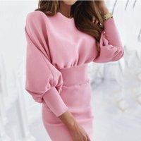 Casual Dresses Women's Knitted Dress Sexy Slim Autumn 2021 Fashion O Neck High Waist Sheath Buttocks Lantern Sleeve Vestidos