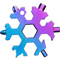 Snowflake Multi outil 18 en 1 Clé de flocon de neige Multitool bouteille ouverture multi-clé Bague à vélo de vélo Fixe Tool Christmas Snowflake Cadeau 66 S2