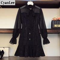 Cyanlee Plus Taille Femmes Autumn Office Dress Dress Sexy Mesh Mesh Housses évasées Patchwork Black Vintage Fête Robes 2021 Casual