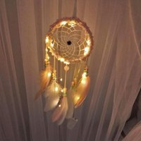 Feathers Beads LED String Light Dream Catcher Home Hanging Lamp Ornament Romantic Catching Monternet Birthday Present Decorative Objects & F