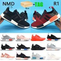 صندوق NMD R1 أحذية رجالي الاحذية أوروبا حصرية مورقة حمراء بلانش الأزرق الثلاثي الأسود الأبيض الرجال أحذية النسائية المدربين US 5-11