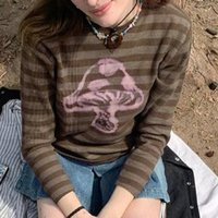 Women's T-Shirt WeiYao Vintage Stripe Cute Baby Tee Fairy Grunge Aesthetic Kawaii O Neck Slim Long Sleeve Cropped T Shirts Women
