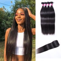4 Bundles With Closure 4x4 Unprocessed Natural 1B Color Remy Human Hair Straight Extensions Wholesale Straight Swiss Lace India Malaysian Hair