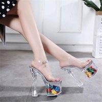 Sandals Cm 18 Crystal Platform 20cm Super High Heel Shoes Thick Wedding Dress Night Sandal For Woman Stilettos Pole Dance
