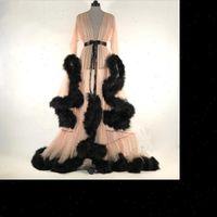 Mode Kleid Mesh Pelz Frauen Nachtwäsche Schlaf Wear Nacht Kleid Nachtwäsche Roben Sexy Frauen Dessous Nachtwäsche Lace Robe Home Kleidung
