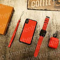 Mode 3-teil-Set-Kopfhörer-Beschützer + Uhren-Band + Telefon-Hüllen für iPhone 12 Pro max 11 11PRO X XS XR XSMAX PU-Leder Airpods Cover Designer Watchband 38/40/42 / 44mm Anzug