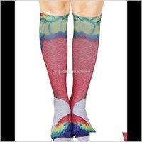 Longitud 18 pulgadas 3D Impreso Mermae Knee Knee Change Long Girls Calcetines Adultos Deportes Medios Multicolors FedExups XC1IA VJZ9E