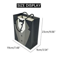 Gift Wrap 1pcs Paper Bags Wedding Decoration Cosmetics Tote Bag Groom Tuxedo White Shirt Handbag Party Shopping Packing