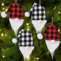 Christmas Gnome Wine Bottle Cover Handmade Buffalo Plaid Champagne Toppers Santa Hat Hanging Decoration OWB11129