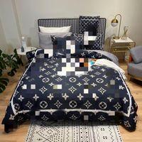كوين حجم مصمم مجموعة مفروشات الأغطية 4 قطع بارد الحرير لحاف غطاء ملاءات السرير الفاخرة مع 2 وسادة