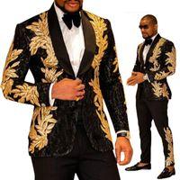 EST Siyah Altın Nakış Erkekler Ile İki Adet Şal Yaka Blazer Slim Fit Düğün Smokin Moda Erkek Ceket Ve Pantolon Erkek Blazer