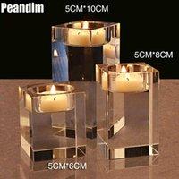 Peandim 웨딩 센터 피스 장식 아이디어 K9 크리스탈 캔들 홀더 세트 3 Tealight 촛대 촛불 스트랜드 6cm 8cm 10cm sh190924