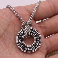 Necklace Runic Circle Pagan Elder Futhark Runes Vegvisir Compass Pendant Viking Men Norse Amulet Talisman Jewerly with Gift Bag