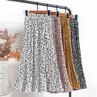 Faldas Croysier Mujeres gasa plisada plisada elástica alta cintura verano s impresión casual midi mediados de becerro largo