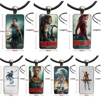 Pendant Necklaces For Girls Gift Movie Tomb Raider 2021 Necklace With Stainless Steel Plated Glass Cabochon Choker Long Rectangle
