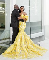 2021 Yellow Mermaid Style African Girl Long Formal Evening Dresses Sexy Deep V-neck Plus Size Dubai Prom Party Gowns