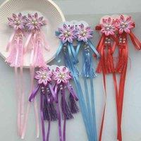 Hair Accessories Children's Ribbon Tassel Hairpin Sword Chrysanthemum Antique Hairstyle Chinese Fashion Flower Hanfu Head Pair Clip