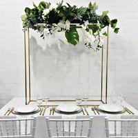 Long Ferro Mesa Metal Plinths para Evento Estágio Pano de fundo Flor Row Centerpiece Casamento Aniversário Festa de Aniversário Decoração de sobremesa