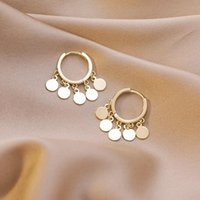 Hoop & Huggie Vintage Small Round Disc Sequins Drop Earrings For Women Fashion Korean Style Gold Color Circle Jewelry Streetwear MS452