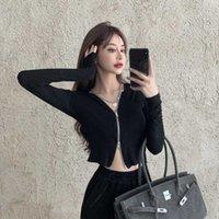 여성 섹시한 짧은 스웨터 순수한 컬러 후드 지퍼 카디 건 슬림 닫기 피팅 패션 재킷 블라우스 스타일 달콤한 재킷 가을 210528