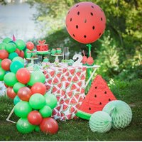 1 set of fruit theme watermelon cake top hat banner balloon summer pool party wedding birthday decoration supplies