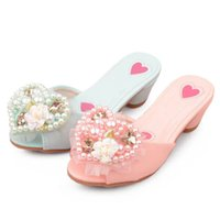 Girls Slipper Kids Shoes Childrens Slippers Children's Fashion Love Pearl Lace Home Sandals Princess Footwear B6361