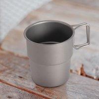 Mugs 300ml Outdoor Water Beer Glass Beverage Cup Pure Titanium Coffee Cups Metal Mug Stackable Portable Drinkware