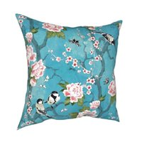Cushion Decorative Pillow Chinoiserie Birds In Turquoise Blue Polyester Cushion Cover Decorations Throw Case Zippered 40X40cm Covers