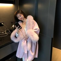 Women's Fur & Faux 2021 Korean Version Loose Double-Sided Cashmere Coat Cloak Real Sheep Woolen Mid-Length Women With Hood