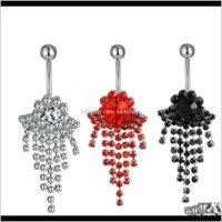Bell Button Bagues Drop Drop Livraison 2021 D0338 (4 couleurs) Bague de nombril, barre de ventre fixe (10pcs / lot) Boîtier de bijoux corporels 14, Ball 5 mm U9Bro