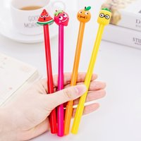 36pcs Korean Stationery Creative Cartoon Fruit Neutral Pen Office Learning 0.5mm Black signature Pen Stationery for students 210330