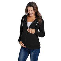 Black Maternity Ropa Mangas largas Sudaderas Sudaderas NUEVO Mantenga la moda caliente Abrigo suelto Mujer embarazada Maternidad Outerwear 31LS K2