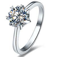스털링 실버 링 1CT 눈송이 쥬얼리 NSCD 시뮬레이션 다이아몬드 약혼 솔리테어 스타일 여성 18K 화이트 골드 도금
