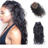 Brasileño Human Hair Wave Wave Haavy Weave Wet y ondulado paquetes de cabello con cierre de encaje Lace Natural Wave Clotsoure con paquetes