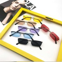 Rechteck Rimless Sonnenbrille Frauen Vintage Marke Designer Cat Eye Sonnenbrille Männer Retro Kleines gelbes Glas UV400