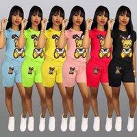2021 Moda de lentejuelas de dibujos animados de manga corta cortos Traje de moda Traje de moda Mujeres Sportsuits Trajes de jogging Dos piezas Establece el nuevo listado