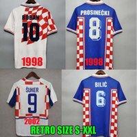 Croácia 1998 2002 Copa do mundo Retro Jersey Jersey Boban Suker Prosinecki 98 99 02 Vintage clássico Azul Azul Bilic Modric Hrvatska HNS personalizado