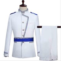 Men Suit Prom Tuxedo White Groom Wedding For European Court Military Dress Blazer Deluxe Vintage Costume Men's Suits & Blazers