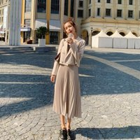Women's Tracksuits Autumn Fashion Small Suit Women + Medium Length Pleated Skirt Two Piece Set