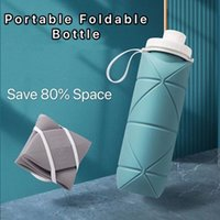 600ml Portable Collapsible Water Bottle Retractable Silicone Cup Outdoor Travel Drinking Running Jogging
