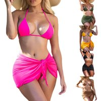 Women's Swimwear 3Pcs Ladies Sexy Beachwear Suit, Summer Women Solid Color Hanging Neck Tie Up Split + Overskirt For Holiday Vacation
