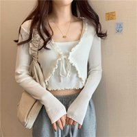 Womens Cardigan One Pieces Sets Knitted Sweater Korean Clothing Lace Up Cardigans Thin Slim Crop Tops Pullover 211022
