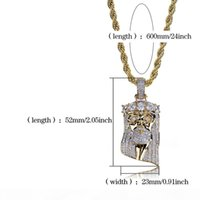 New Rame Gold Color Placcato Iced Out Jesus Face Pendant Collana Micro Pave CZ Stone Hip Hop Bling Gioielli