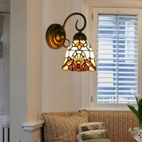 Turkish Style Mediterranean Sea Bracket Light Stained Glass Rustic Sconces Bedroom Aisle Bathroom Mirror Front Wall Lamp Lamps
