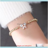 Charm Bracelets Jewelrywomen Fashion Adjustable Cubic Zirconia Bow-Knot Design Simple Bracelet Butterfly Pendant Chain Jewelry Drop Delivery