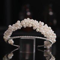 Hair Clips & Barrettes Pearl Rhinestone Tiara Hairband Wedding Accessories Headband Head Jewelry For Bridal