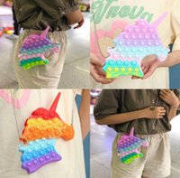 Cartoon Unicorn Push Bubble Fidget Toy Backpack Purses Chain Bag Sensory Rainbow Anti Anxiety Slicone Finger Puzzle Board Game Christmas Kids Girls Gift H917A5YC