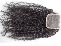 Sufia Brezilyalı İnsan Bakire Saç Uzatma Dantel Ön Sınıf 7A Saç Ürün Işlenmemiş Doğal Siyah Kıvırcık 4 * 4 inç Dantel Kapatma